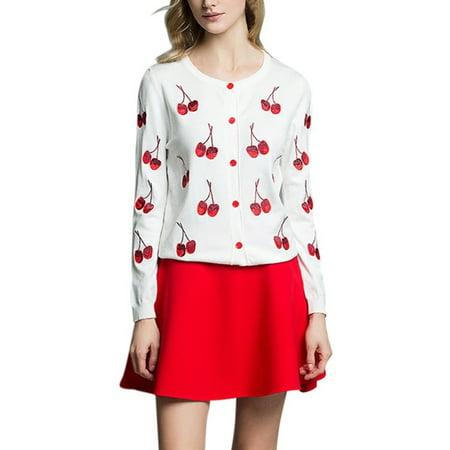 Cotton Cardigan Jacket - Women Cotton Sweater Cherry Embroidery Knitting Cardigan Outwear Jacket Coat