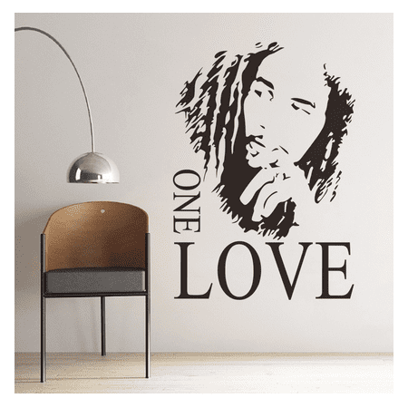Outgeek Wall Stickers Removable Bob Marley One Love Quote Decal Stickers for Bedroom Living Room Women Men Home