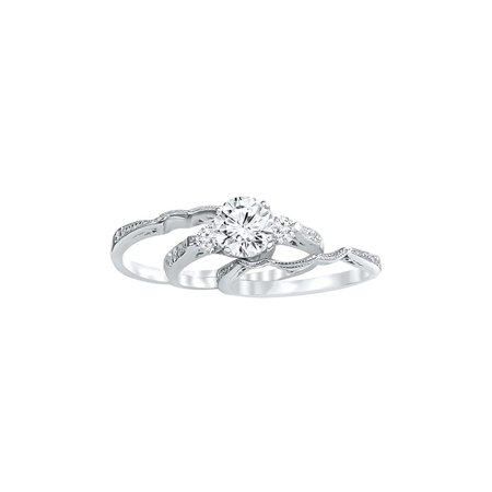 DTLA Sterling Silver Promise Ring Triple Band Cubic Zirconia Three Stones (10)