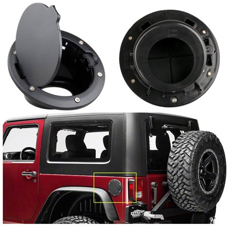 Xotic Tech 1 x Black Metal + ABS Fuel Door Gas Cap Lid Cover for Jeep Wrangler JK 2007-2018