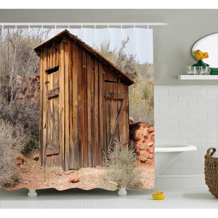 Outhouse Shower Curtain, Old Wooden Shed in the Outback Country Side with Olive Trees, Fabric Bathroom Set with Hooks, Caramel Brown and Dark Green, by Ambesonne ()