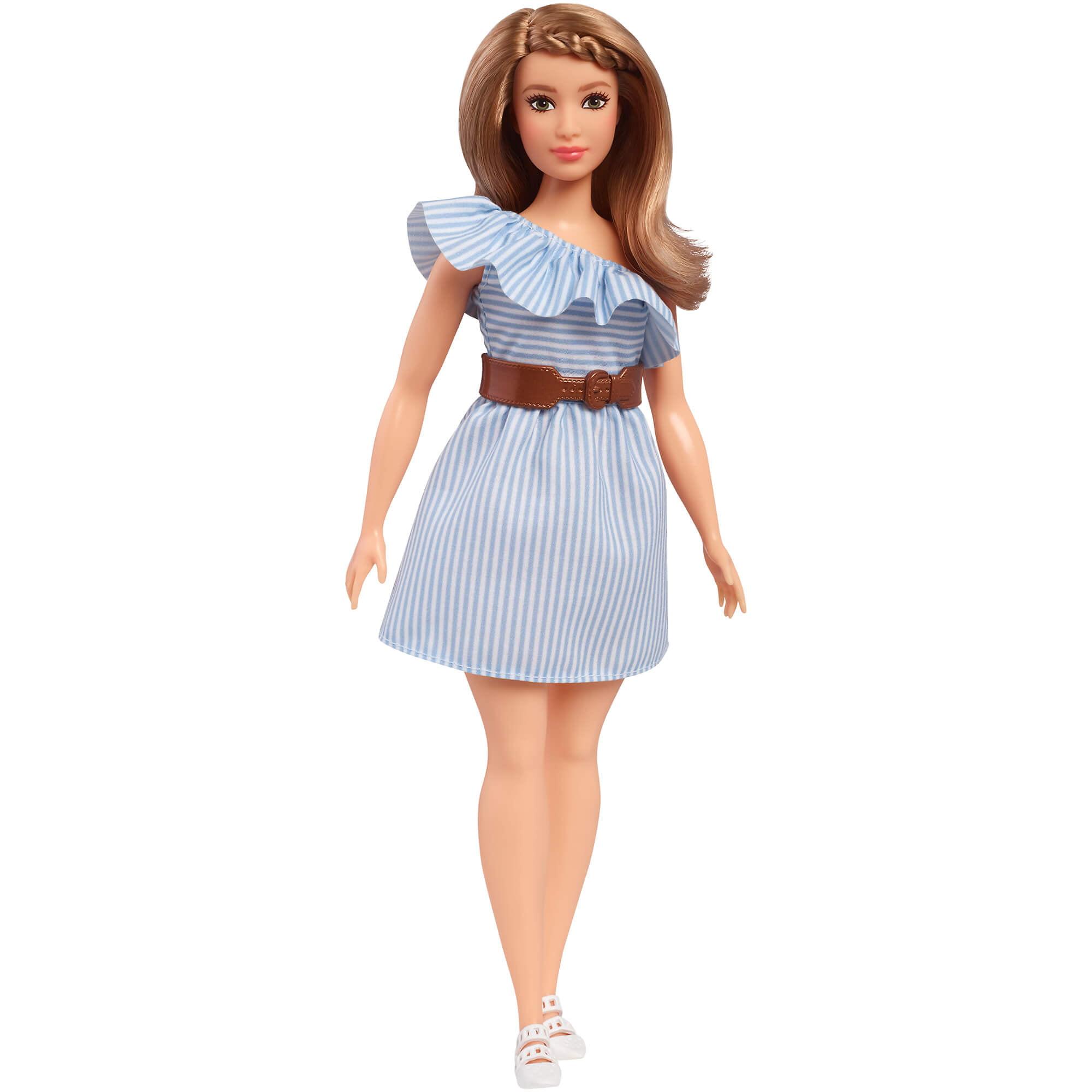 Barbie Fashionistas Doll, Curvy with Pinstripe One-Shoulder Dress