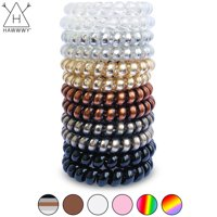 Hawwwy Spiral Hair Ties, Damage Free No Bump No Kink No Break No Dent Stretchy Hair Ties Telephone Cute Swirly Coil Twist Twisters Thick Hair Thin Bands Pretty Womans Girls 12-pack, Mixed Metallic