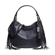 coach nomad fringe hobo in pebble leather in dark nickel   navy blue 37717 by