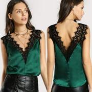 Womens Sleeveless Lace Vest Crochet Tank Tops Blouse BraletteCami Crop Top
