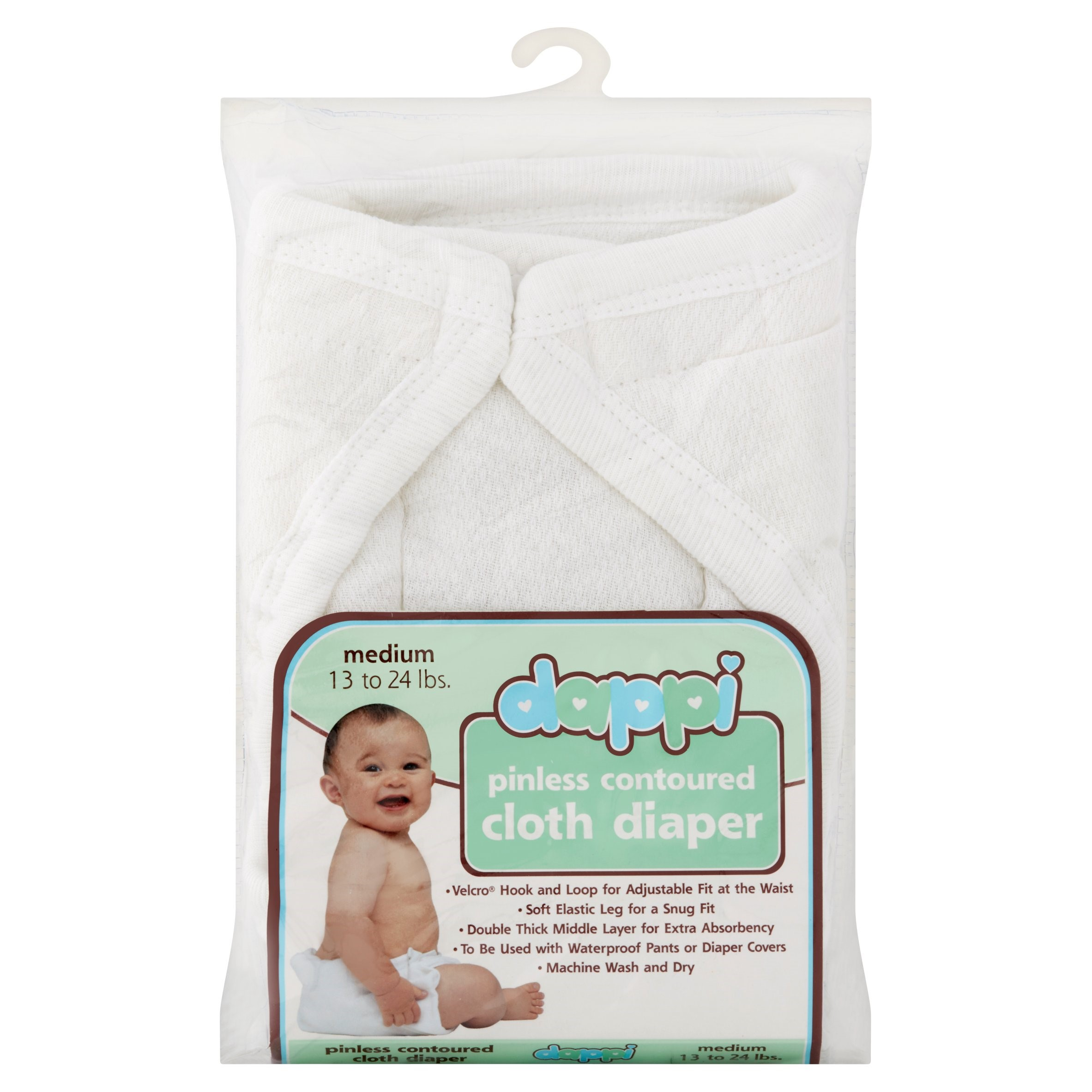 Dappi Pinless Contoured Cloth Diaper (Choose Size)