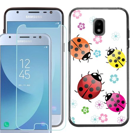 For Samsung Galaxy J3 Orbit / J3 Star / Express Prime 3 / J3 Achieve Phone Case, Slim-Fit TPU Case (Black Bezel) with Tempered Glass Screen Protector, by OneToughShield ® - Ladybug