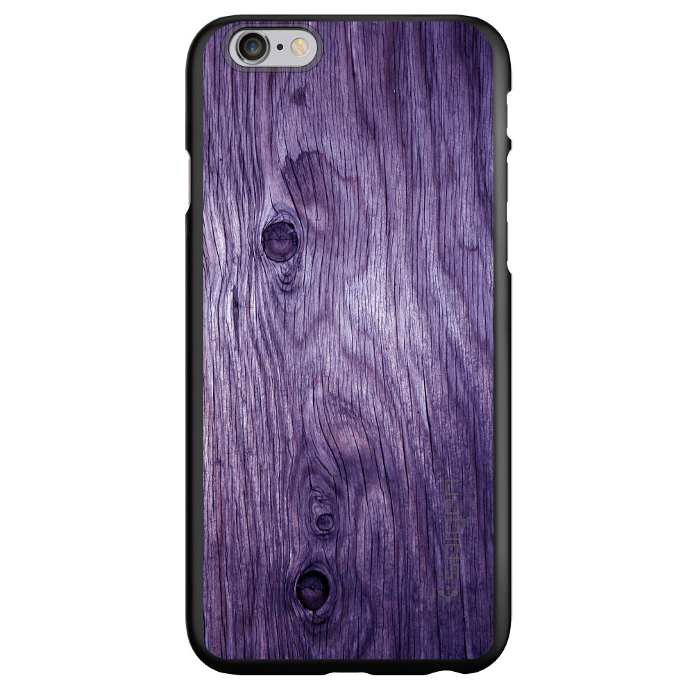 "CUSTOM Black Spigen Thin Fit Case for Apple iPhone 6 PLUS / 6S PLUS (5.5"" Screen) - Purple Weathered Wood Grain"