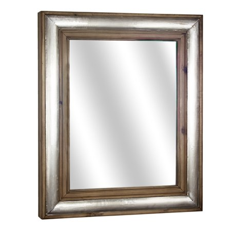 American Art Decor Wood and Metal Framed Mirror (27