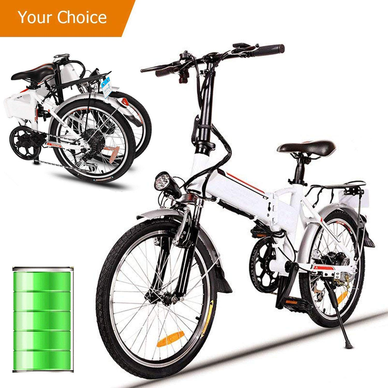 "Clearance&Sale! ANCHEER 18.7"" Folding Electric Bike Large Capacity Lithium-Ion Battery (36V 250W), and 7 speeds Mountain Bicycle 30km/h, 330lbs,Adjustable White Hifashion"