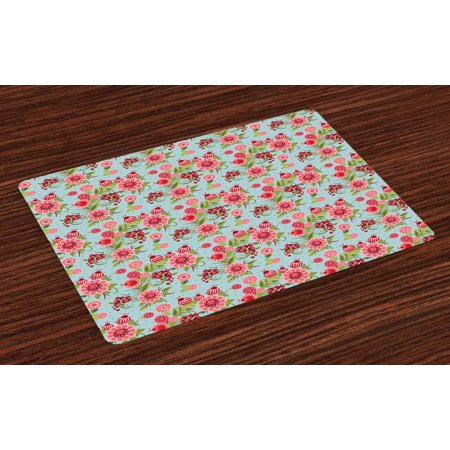 Botanic Blue Placemats - Flower Placemats Set of 4 Tribal Eastern Oriental Botanic Flower Buds and Floral with Leaves Natural Print, Washable Fabric Place Mats for Dining Room Kitchen Table Decor,Pink and Blue, by Ambesonne