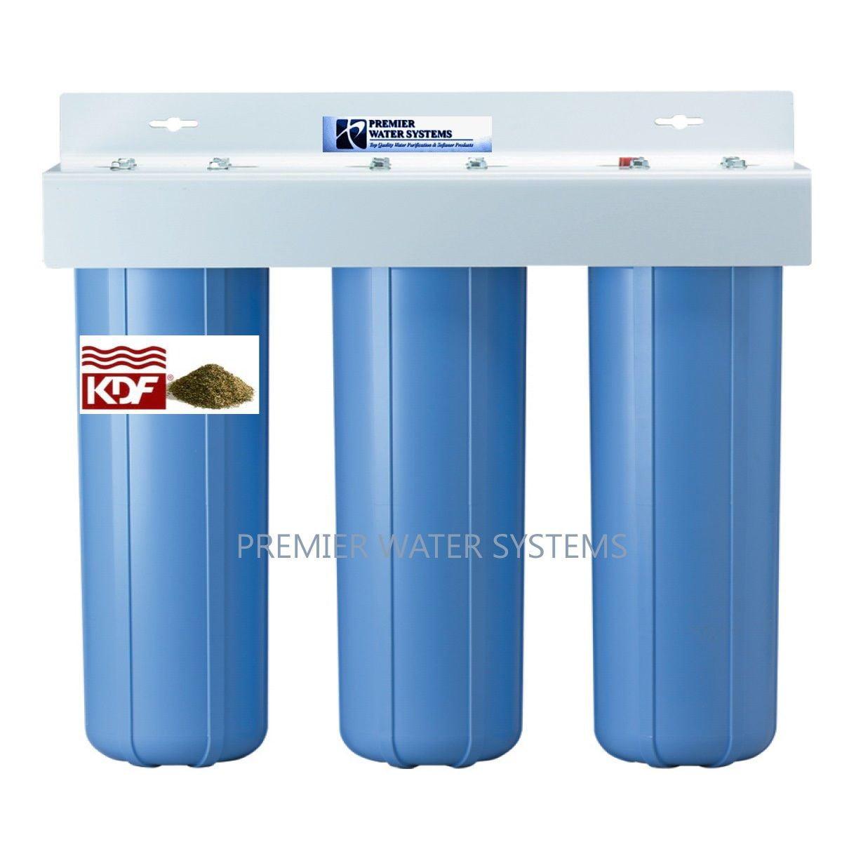 """Premier TRIPLE WATER FILTER SYSTEM 1"""" NPT KDF85-GAC/Carbon/Sediment"""