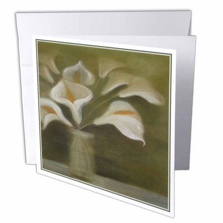 3dRose Callas In Vase - calla, calla lilies, calla lily, callas, easter lily, floral, flower, Greeting Cards, 6 x 6 inches, set of 12 12 Flower Name Card