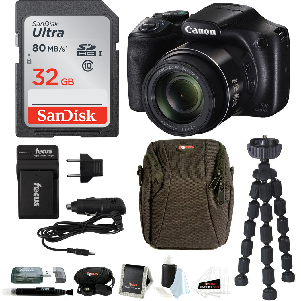 Canon PowerShot SX540 HS Digital Camera with 32GB SD Card and Accessory Bundle
