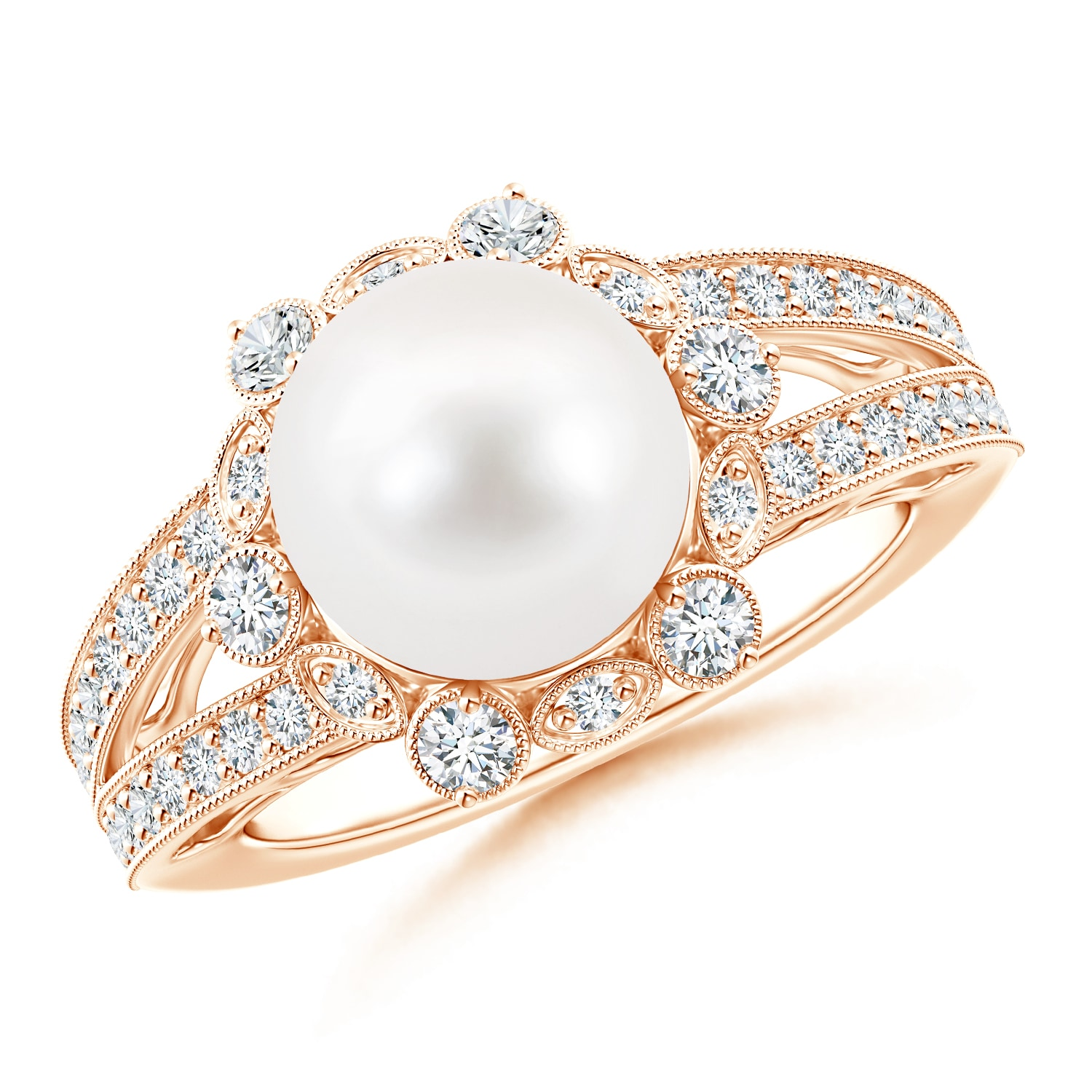 Angara Freshwater Cultured Pearl Halo Split Shank Ring