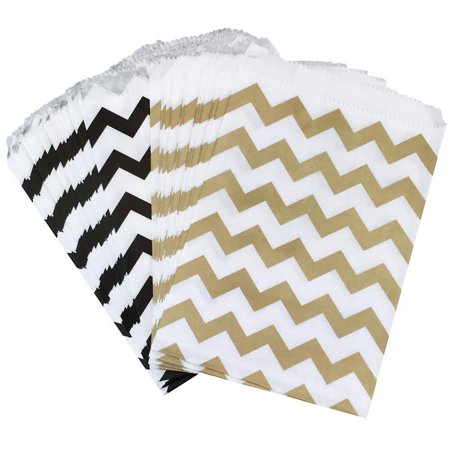Gold and Black Chevron Paper Bags- Favor Sacks  Pack of 48 - Black Paper Bag