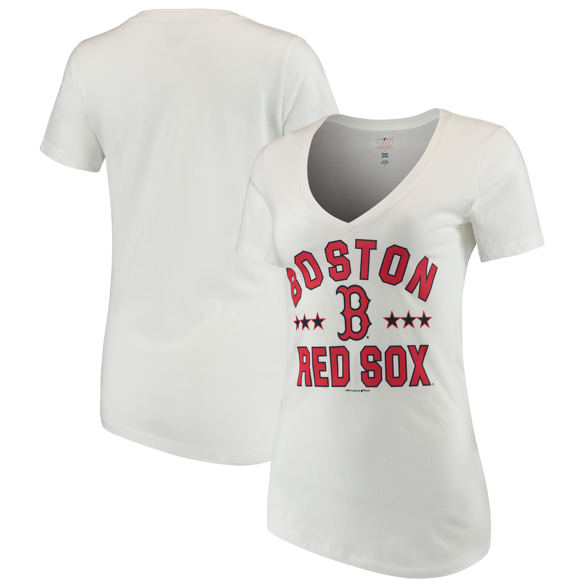 Women's New Era White Boston Red Sox V-Neck Short Sleeve T-Shirt