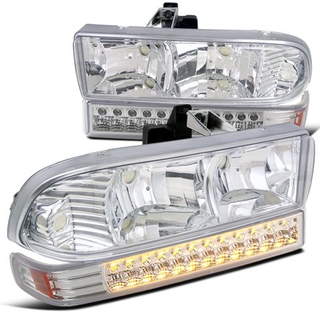 Spec-D Tuning 1998-2004 Chevy Chevrolet S10 Blazer Chrome Clear Headlights + Led Bumper Signal Lights Pair (Left + Right) 1998 1999 2000 2001 2002 2003 2004