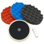 """Waffle Foam Buffing & Polishing Pad Kit w/ 3 - 8"""" Polish Pads Grip Backing Plate"""