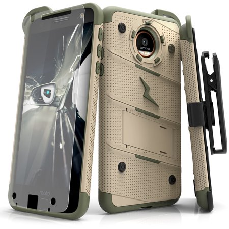 premium selection 4ba1c 7d603 Zizo BOLT Series compatible with Motorola moto Z Case Military Grade Drop  Tested with Tempered Glass Screen Protector, Holster