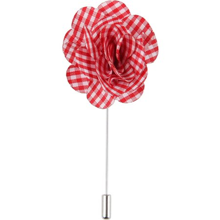 Men's Lapel Flower Handmade Boutonniere Pin for Suit - Gingham Plaid (Red) - Boys Boutonniere