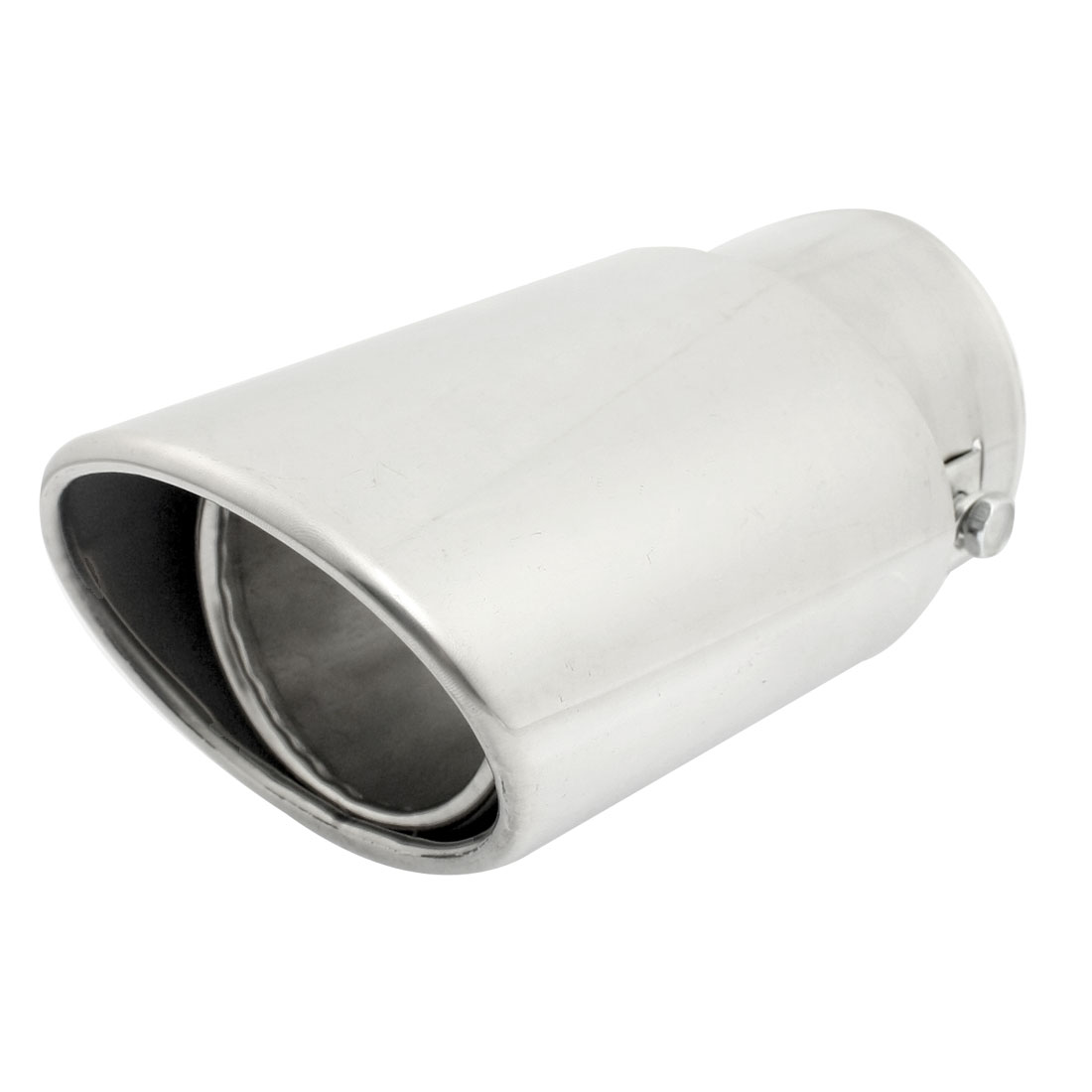 Oval Shape Silver Tone 61mm Inlet Exhaust Muffler Tip Pipe for Car Van