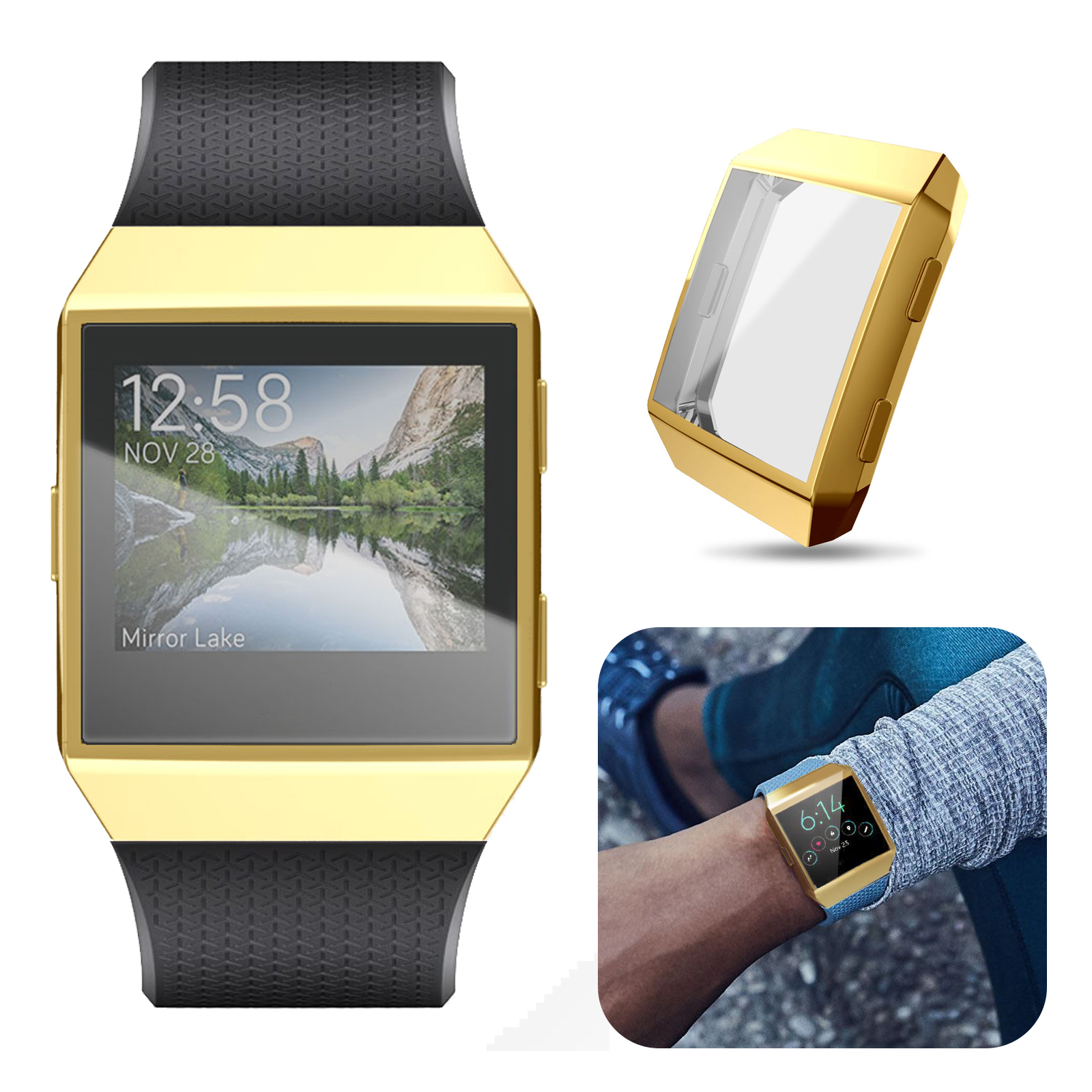 EEEKit Screen Protector Case, Flexible Soft TPU Scratch-resistant FullBody Protective Case for Fitbit Ionic Smart Watch