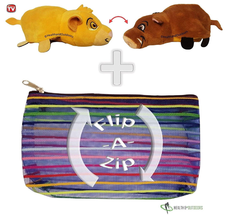 """Flipzee 5"""" & FlipaZip COMBO ( Simba / Pumba ) Huggable Flip a Zoo Stuffed Animal is 2 Zoo Pets in 1"""