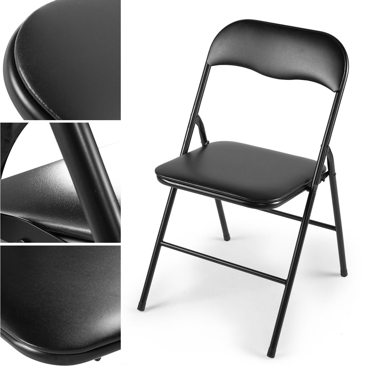 Folding Chairs Jaxpety 4pcs Commercial Wedding Quality Stack Able Plastic Folding Chairs Black W Soft Cushion Home Kitchen Belasidevelopers Co Ke