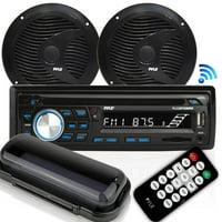 Pyle PLCDBT75MRB - Marine Stereo Radio Receiver & Waterproof Speaker Kit, Hands-Free Talking, CD Player, MP3/USB/SD Readers, AM/FM Radio, (2) 6.5'' Speakers