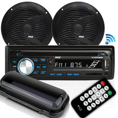 Pyle PLCDBT75MRB - Bluetooth Marine Stereo Radio Receiver & Waterproof Speaker Kit, Hands-Free Talking, CD Player, MP3/USB/SD Readers, AM/FM Radio, (2) 6.5''