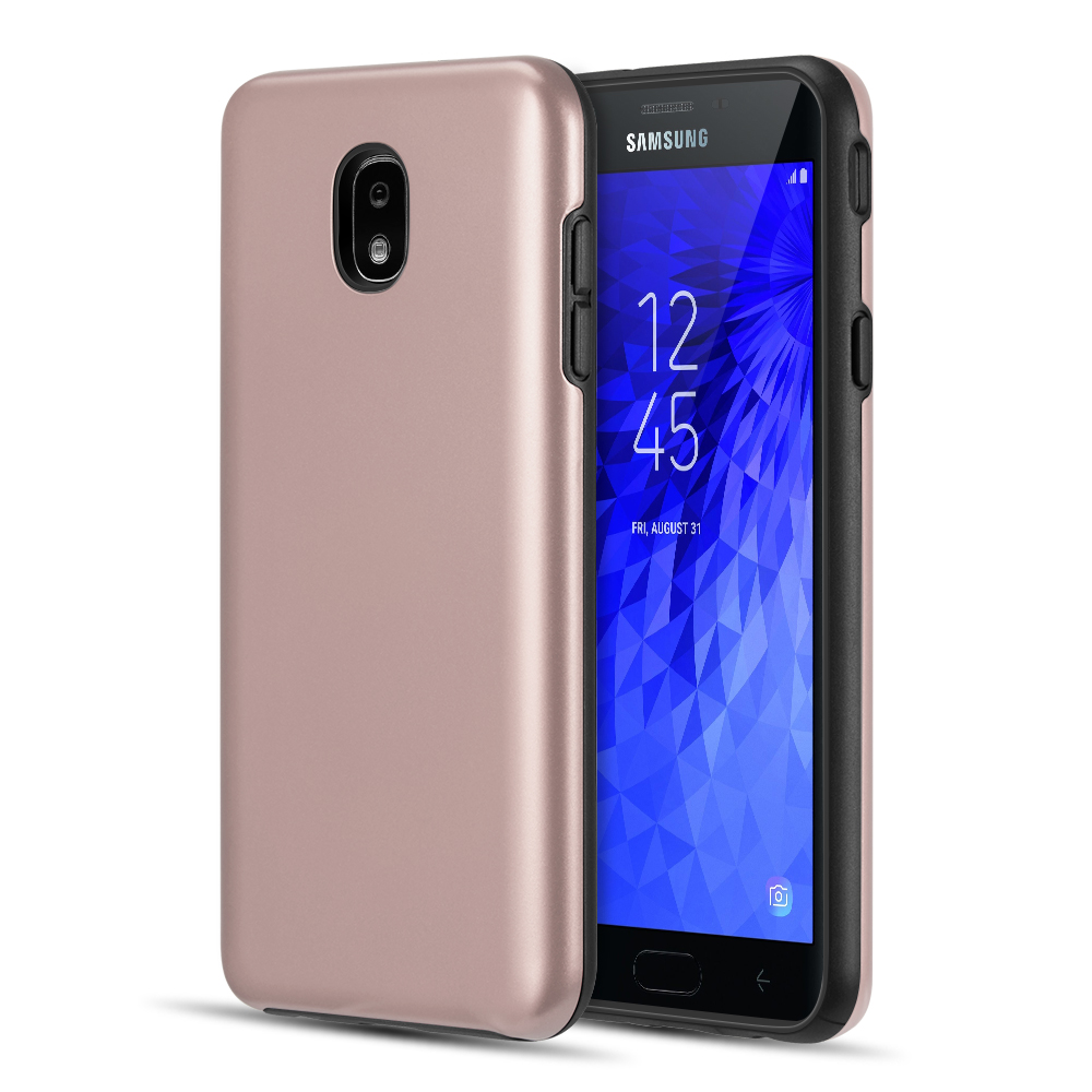 Dual Armor Samsung Galaxy J7 Star, Slim Fit Hybrid Protective Cover Case for Samsung Galaxy J7 Star 2018 J737T (T-Mobile) - Rose Gold Pink
