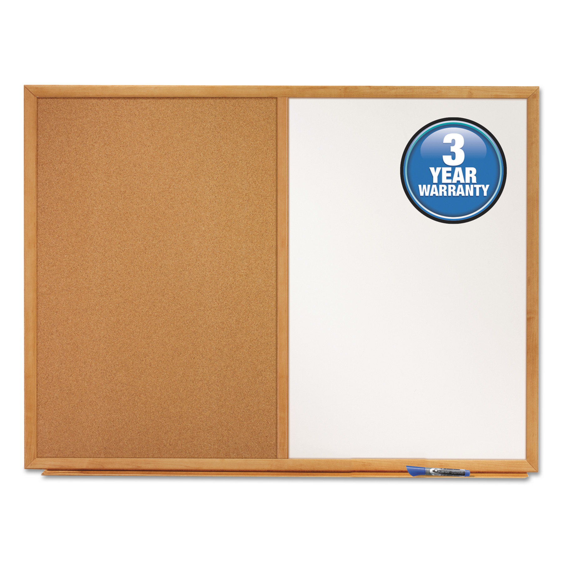 Quartet Bulletin/Dry-Erase Board, Melamine/Cork, 36 x 24, White/Brown, Oak Finish Frame -QRTS553