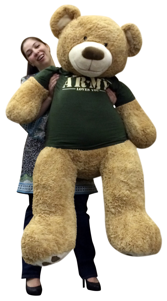 Giant 5 Foot Romantic Teddy Bear Wearing Tshirt That Says SOMEBODY IN THE ARMY LOVES YOU Big Military Teddy... by BigPlush