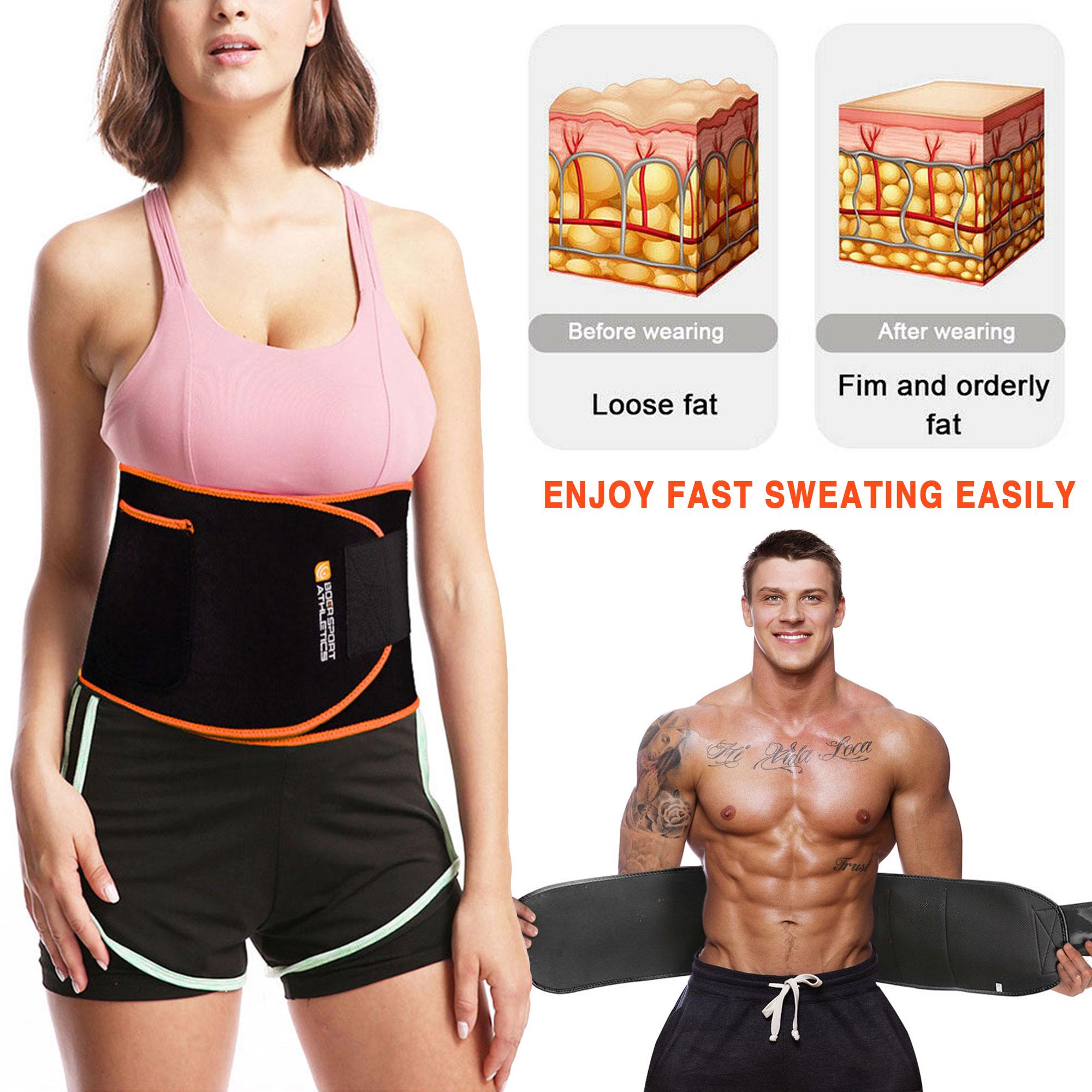 Women /& Men Gym Waist Trainer Cincher Body Shaper Sweat Belt Fat Burn Shapewear