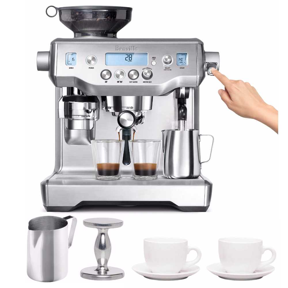 Click here to buy Breville BES980X The Oracle Espresso Machine + Frother, Tamper and Tiara Cups by Breville.