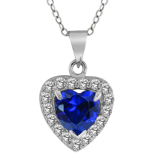 """2.00 Ct 7mm Heart Shape Created Sapphire Sterling Silver Pendant with 18"""" Chain"""