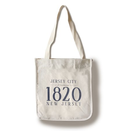 Jersey City, New Jersey - Established Date (Blue) - Lantern Press Artwork (100% Cotton Tote Bag - Reusable)