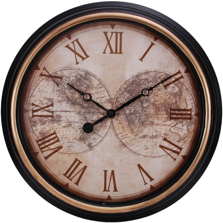 Kiera Grace Map 16  Wall Clock  2  Deep  Black