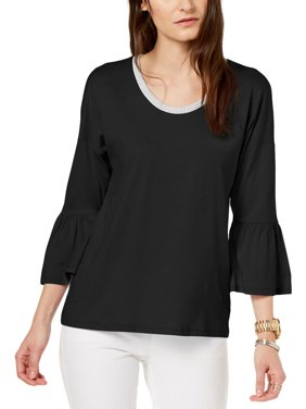 e0a83b34c3a8f Product Image MICHAEL Michael Kors Womens Petites Shimmer Bell Sleeves  Pullover Top Black PL