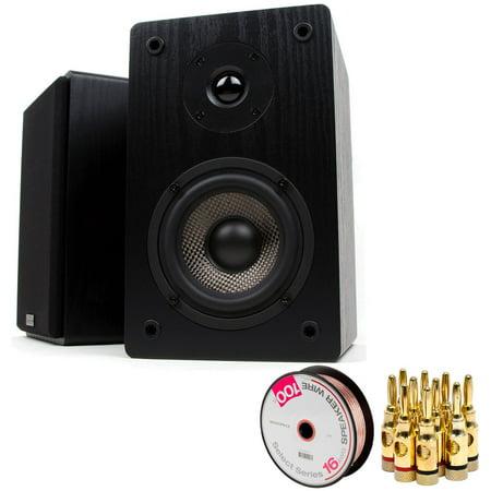 Micca MB42 Bookshelf Speaker Pair W 4 Carbon Fiber Woofer Silk Dome Tweeter