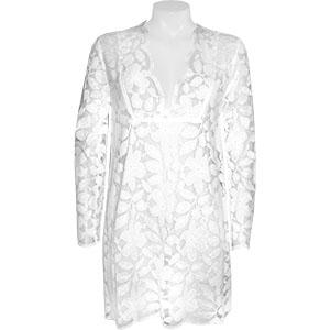 J Valdi Floral Lace V Neck Tunic Cover Up