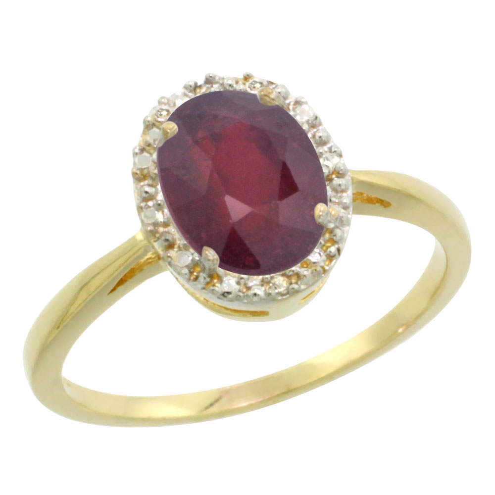 10K Yellow Gold Natural HQ Ruby Diamond Halo Engagement Ring Oval 8X6mm, sizes 5-10