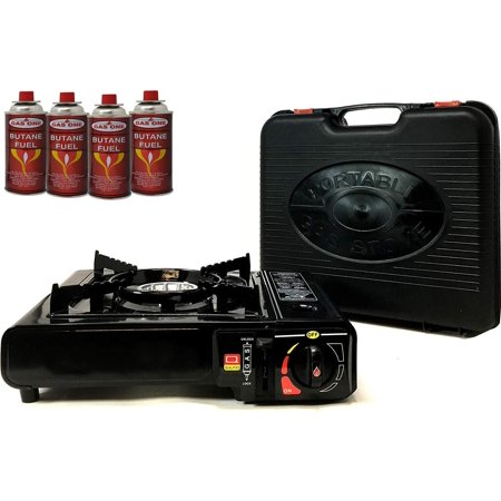 Portable Butane Gas Stove & 4 Pack Butane Canister Complete Set with Carrying Case - Full Stainless Steel Body Electronic Ignition for Outdoor Camping Tailgating Backyard ()