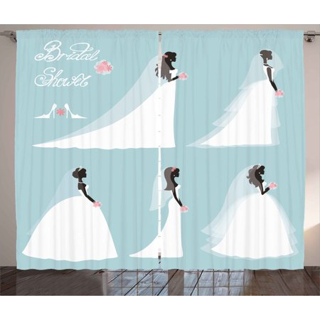 bridal shower curtains 2 panels set fashion design traditional wedding bride dress with flowers