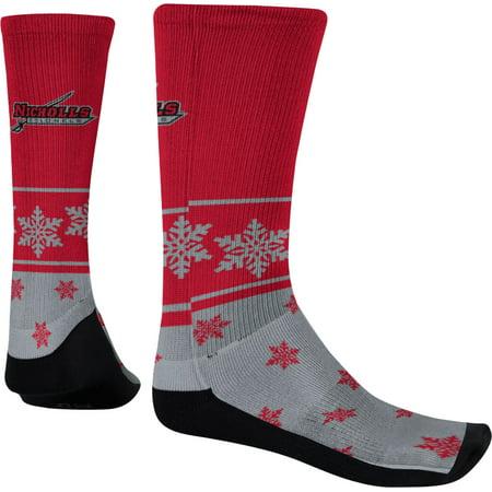 Men's Nicholls State University Ugly Holiday Snowflake Sublimated Socks