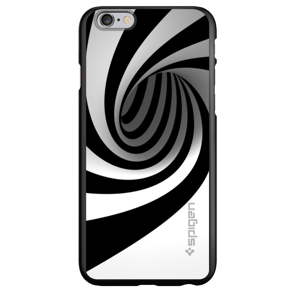 "CUSTOM Black Spigen Thin Fit Case for Apple iPhone 7 / iPhone 8 (4.7"" Screen) - Black White Swirl Vortex Geometric"