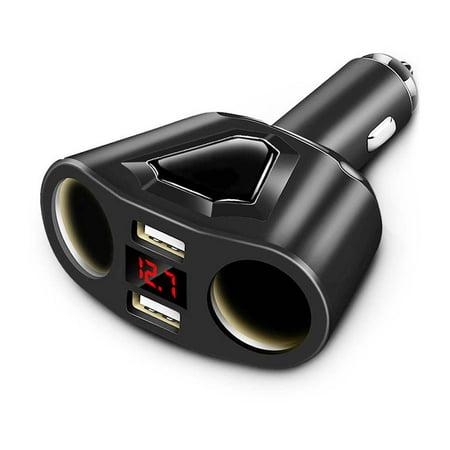 Multifunction  Dual USB LCD Car Charger Cigarette Lighter Socket Splitter DC -