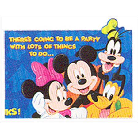 Mickey Mouse 'Disney Gang' Invitations w/ Env. (8ct) - Mickey Mouse Birthday Photo Invitations