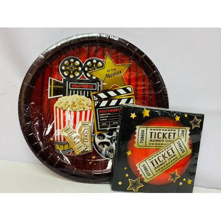 Hollywood Movie Package Birthday Party Supplies - Large Plates and Small Napkins](Movie Party)